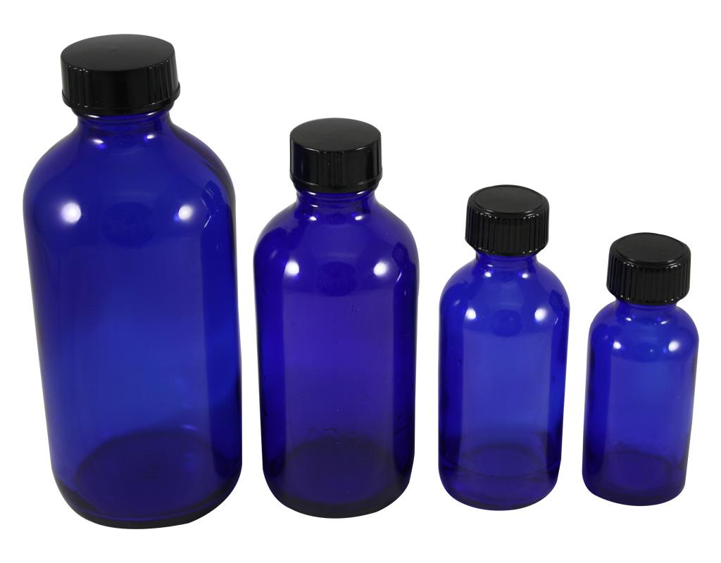 1440d0505d4b Blue Glass bottle W/Black Phenolic Cone Caps