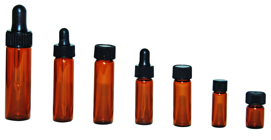 Amber Glass Vials with black cap